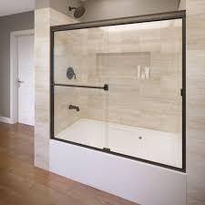 clear semi framed sliding door in