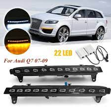 Led Daytime Running Fog Lights Drl White Turn Signal Lamp Yellow 2pcs For Audi Q7 2007 09 Gearbees