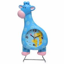 giraffe with pendulam kids wall clock multicolor