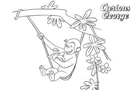Curious George Coloring Pages Playing On The Tree Free Printable
