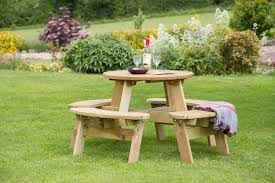 katie small round picnic table garden furniture land