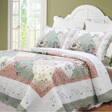 Cozy Line Celia Country Floral Patchwork 3-piece Cotton Quilt Set ... & Celia Patchwork 3-piece Cotton Quilt Set Adamdwight.com