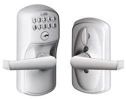 schlage electronic locks. Schlage Lock Company LLC FE595-PLYXELA-626 - FE595 Keypad Entryset With Flex-Lock W/Plymouth Trim And Elan Lever (Satin Chrome Adjustable Electronic Locks I