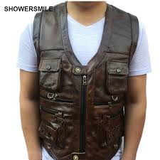 showersmile brown vest mens leather waistcoat real leather motorcycle vest with many pockets photography vest sleeveless jacket in vests waistcoats from