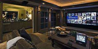 Interior:Great Looking Theater Room Design With Comfy Brown Leather Sofa  And Rectangle Wooden Coffee
