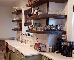 reclaimed wood floating shelves kitchen rustic kitchen shelves with corner l shaped design and recl on diy