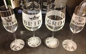 etched custom wine glasses champagne flute for wedding bride and groom