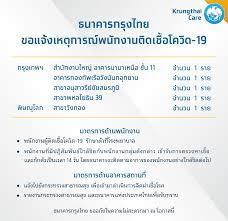 Krungthai Care - ธนาคารกรุงไทย ขอแจ้งเหตุการณ์พนักงานติดเชื้อโควิด-19  รายละเอียดเพิ่มเติม คลิก :  https://krungthai.com/th/krungthai-update/news-detail/803 กรุงเทพฯ -  สำนักงานใหญ่ อาคารนานาเหนือ ชั้น 11 จำนวน 1 ราย -  อาคารกองทัพเรือวังนันทอุทยาน จำนวน 1 ...