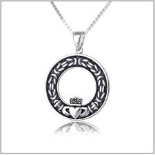 men s celtic black claddagh necklace