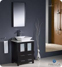 fresca torino single 24 inch modern bathroom vanity espresso with vessel sink