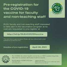 Read on to find out how you can register. Covid 19 Vaccine Pre Registration De La Salle University