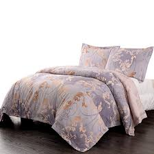 simple once microfiber light purple fl queen quilt king duvet cover set including 1 duvet cover and