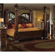 Mcferran B6005 Rich Brown Solid Hardwood California King Size Canopy Bedroom Set 3Pcs