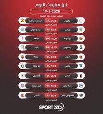 جدول مواعيد أهم مباريات اليوم والقنوات الناقلة – الأحد 19 – 1 – 2020 -  سبورت 360