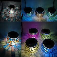 solar power mosaic glass ball garden stake color changing outdoor lawn led light
