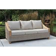 donalsonville teak patio sofa with