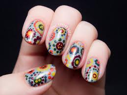 70's Style Polka Dot Floral Print | Floral, Dot nail art and Nail nail