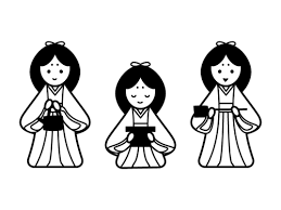 ひな祭り三人官女の白黒イラスト かわいい無料の白黒イラスト モノぽっと