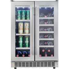 stunning modern chrome handle door in double leaf beverage center fridge also wine cooler plus cool inside lighting