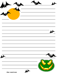 free halloween stationery templates freaky halloween bats scary frog background regular lined kids