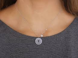 meira t diamond cross disc necklace
