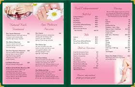 nail salon menu