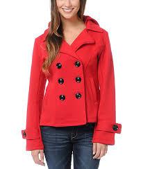sebby red fleece hooded pea coat