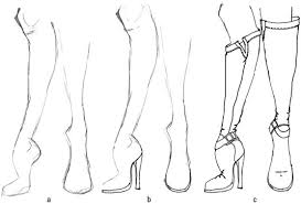 fashion boots drawing. draw some high fashion boots that have stretch in the body. drawing
