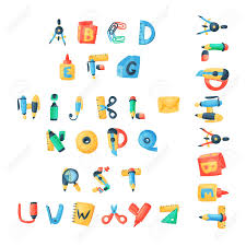 Letters Of Office Alphabet Stationery Letters Vector Abc Font Alphabetic Icons Stock