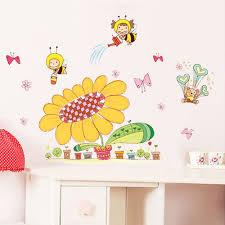 get ations cartoon children s room decor removable wall stickers kindergarten classroom layout sticker sunflower bee
