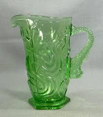 bohemian depression green glass lemonade wine water pitcher ewer fish