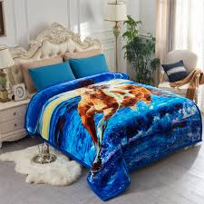 super soft cozy warm horse printed plush fleece blanket for bed heavy thick double ply super warm winter bed blanket queen size 79 x 95 8lb com