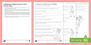 Midsummer Night\'s Dream Quotes Quiz Best of A Midsummer Night's Dream AZ Quiz Worksheet Activity Sheet