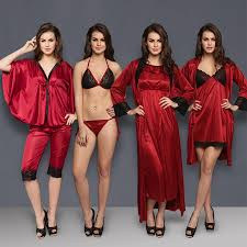 Buy 8 Pcs Satin Nightwear Set In Maroon Black Long Robe