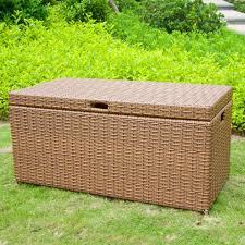 jeco honey wicker patio storage deck box