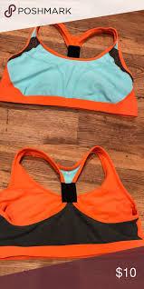 Xersion Large Sports Bra Large Orange Gray Black And Teal