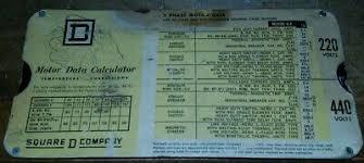 Motor Data Calculator Slide Chart Vintage Square D Company Motor Data Calculator Slide Chart