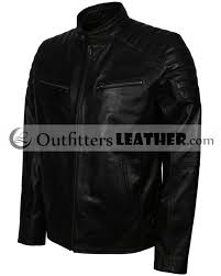 mens classic quilted shoulders genuine black leather motorcycle jacket outfitters leatheroutfitters leather