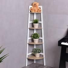 costway 4 tier wood corner bookcase ladder shelf wall unit bookshelf display stand rack 0