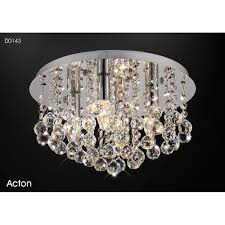 acton 4 light round medium flush ceiling fitting in polished chrome and crystal finish