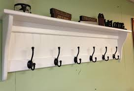 Wall Shelf Coat Rack Coat Rack Wood Country Wall Shelf White 100 Wide Display 20