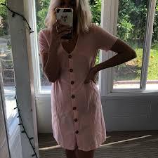 Light Pink Linen Dress Light Pink Linen Dress With Scrunch Sides Back At Depop