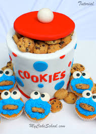 How To Decorate A Cookie Jar Cookie Jar Cake With Cookie Monster Cupcakes Blog Tutorial My 31