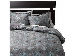 threshold blue medallion full queen bed comforter set 3 piece