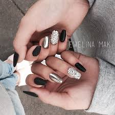 Matte Black Diamonds And Chrome Nails At Michasiasolinska Nails