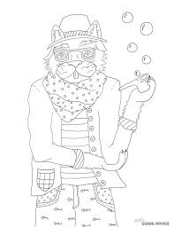 Small Picture Printable A Hipster Cat Coloring Page Quirk Books Publishers