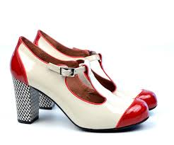 modshoes dustys cream red patent leather tbar womens