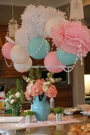 Flower Paper Lanterns Tissue Flowers And Paper Lanterns Party Idea Pastel Dessert Tables Decorations Kids Birthday Party Decor Baby Shower Wedding Buy Tissue Flowers And