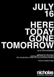 nicholas: here today gone tomorrow ...