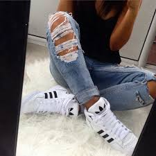 adidas shoes 2016 for girls tumblr. cuffed jeans ripped with black tank top tshirt and high shoes sneakers adidas 2016 for girls tumblr 0